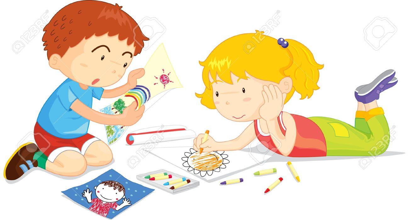 Coloriage Dessin Bus Enfant Dessin Enfant Deux Enfants De Dessin s Ensemble