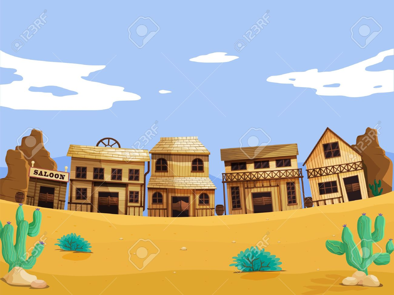 hight resolution of vector wild west illustration scene with detail