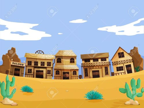 small resolution of vector wild west illustration scene with detail
