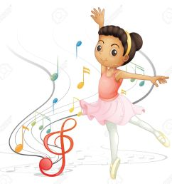 illustration of a girl dancing with musical notes on a white background stock vector 18052975 [ 1300 x 1219 Pixel ]