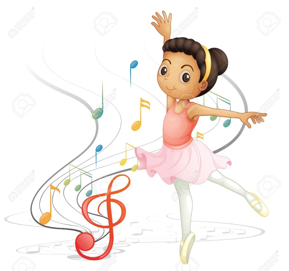 medium resolution of illustration of a girl dancing with musical notes on a white background stock vector 18052975