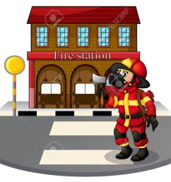 illustration of a fireman in front of the fire station on a white background stock vector [ 1300 x 1016 Pixel ]