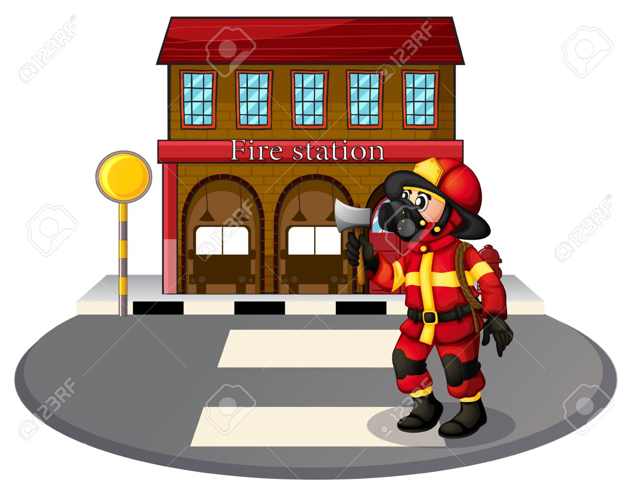 hight resolution of illustration of a fireman in front of the fire station on a white background stock vector