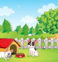 illustration of a backyard with two dogs stock vector 18607807 [ 1300 x 1047 Pixel ]