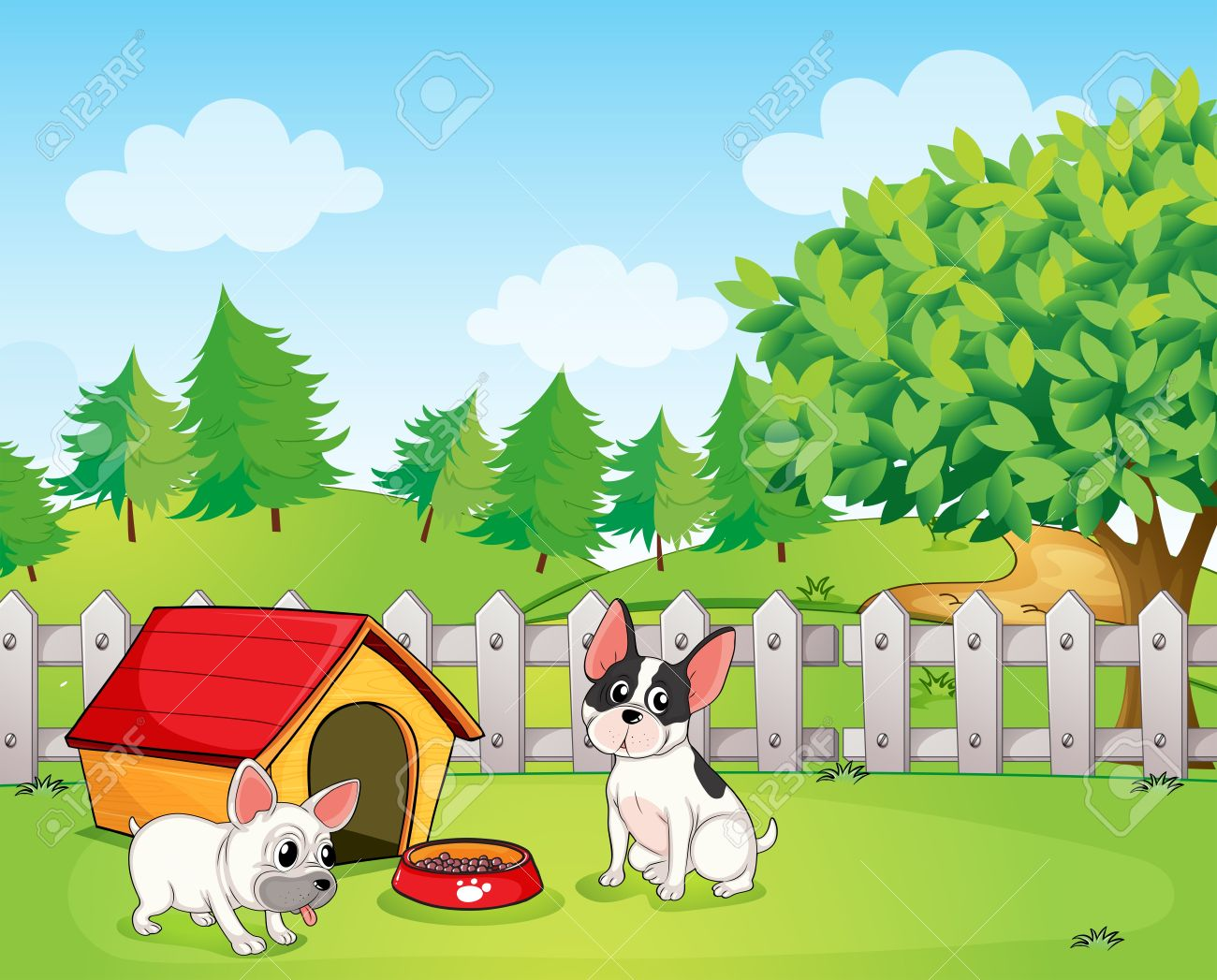 hight resolution of illustration of a backyard with two dogs stock vector 18607807