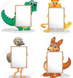 illustration of the wild animals with empty bulletin boards on a white background stock vector  [ 1129 x 1300 Pixel ]