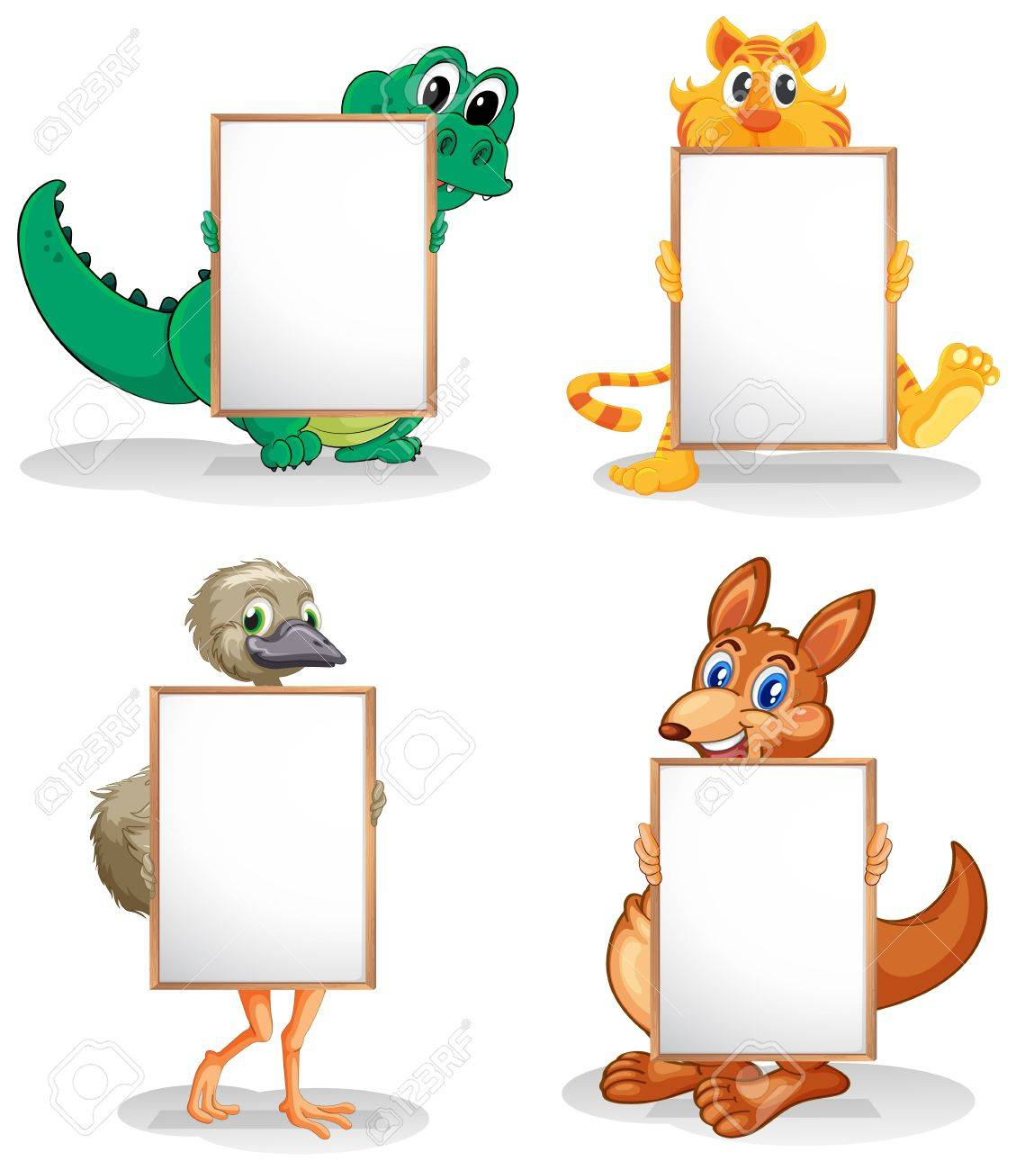 hight resolution of illustration of the wild animals with empty bulletin boards on a white background stock vector