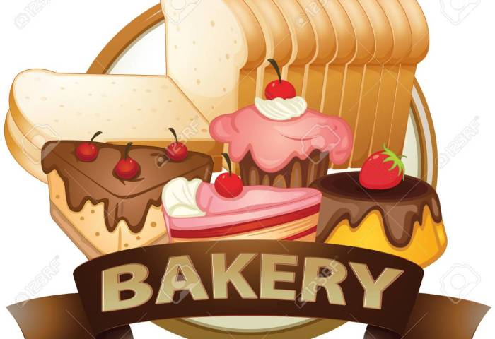 Brown Bakery Label With Baked Goods Royalty Free Cliparts Vectors