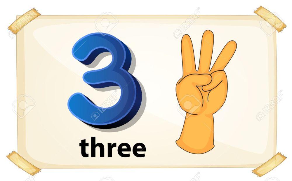 medium resolution of illustration of a flashcard number three stock vector 36769921
