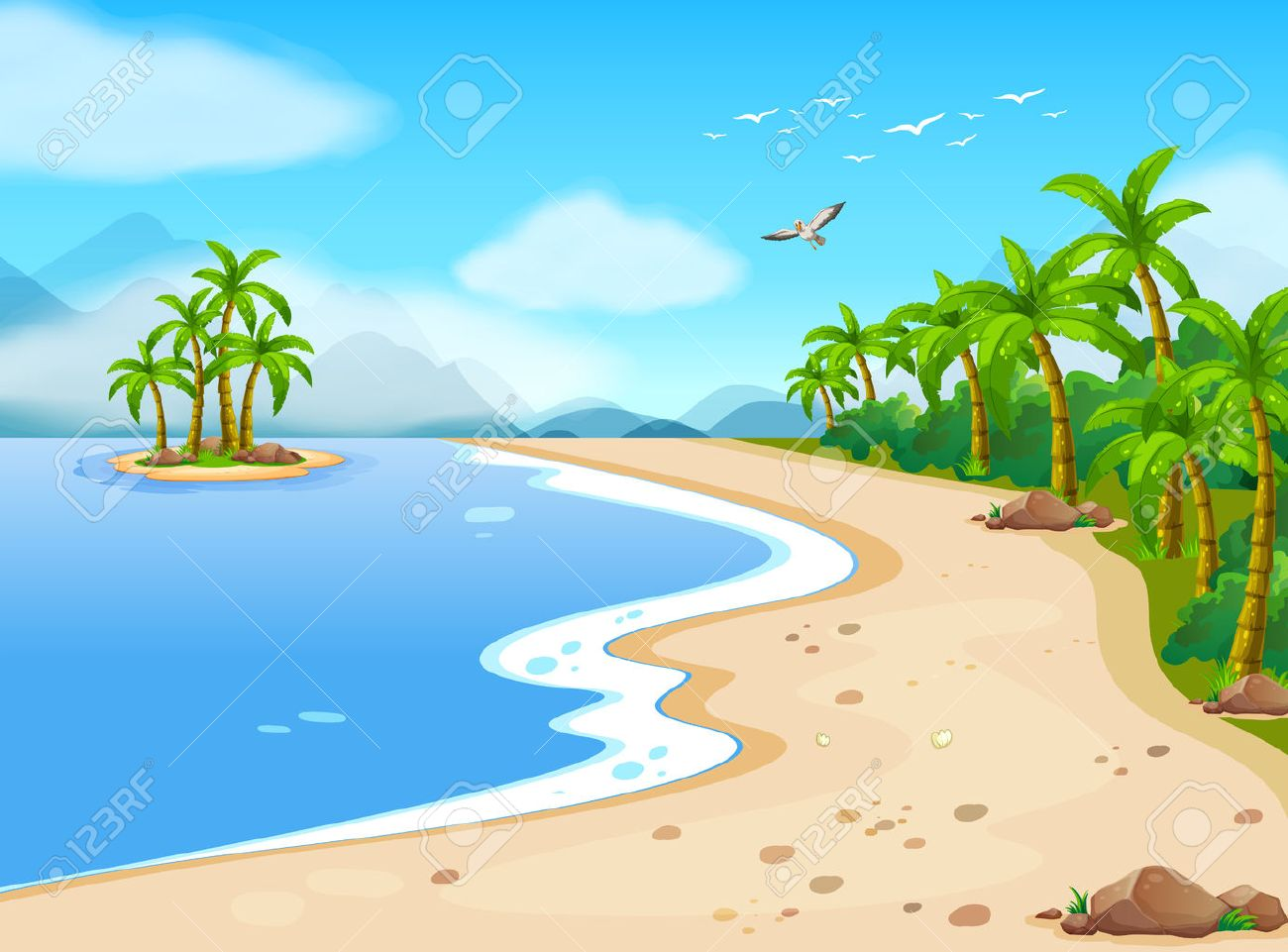 hight resolution of illustration of a beautiful beach during the summer