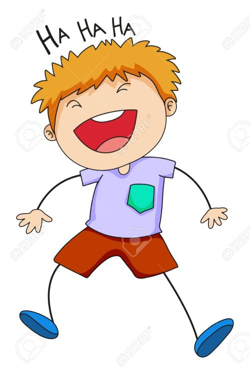 small resolution of close up happy boy laughing alone stock vector 39768108