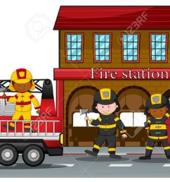 firefighters working at the fire station stock vector 40068993 [ 1300 x 695 Pixel ]