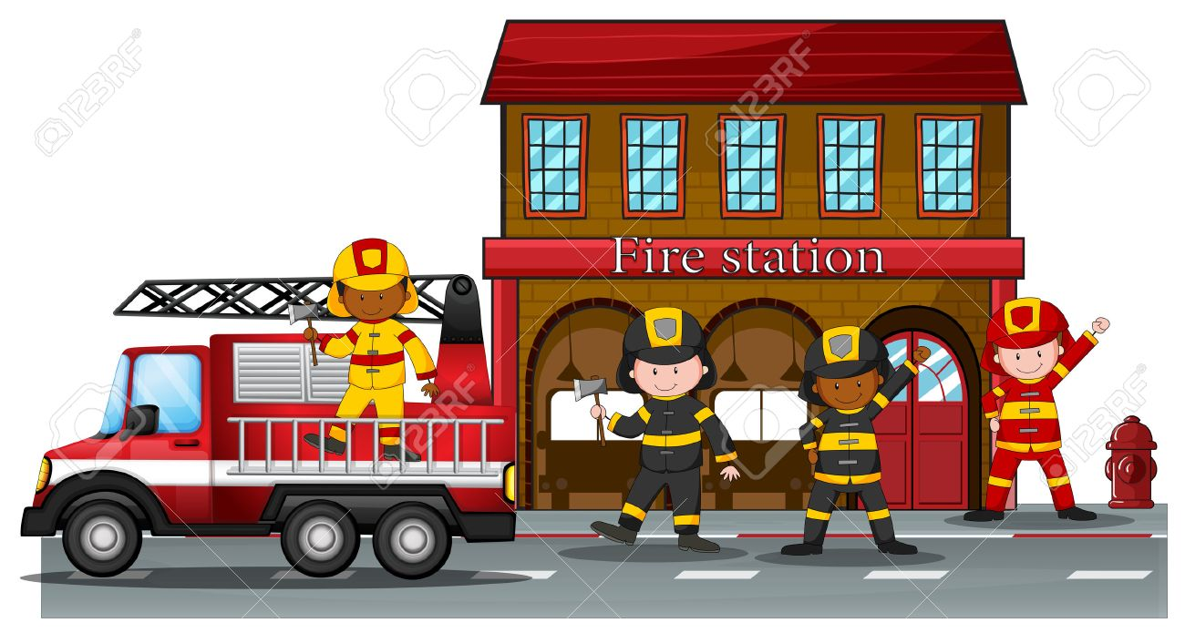 hight resolution of firefighters working at the fire station stock vector 40068993
