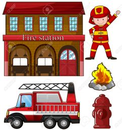 fireman and fire station illustration stock vector 44656987 [ 1206 x 1300 Pixel ]
