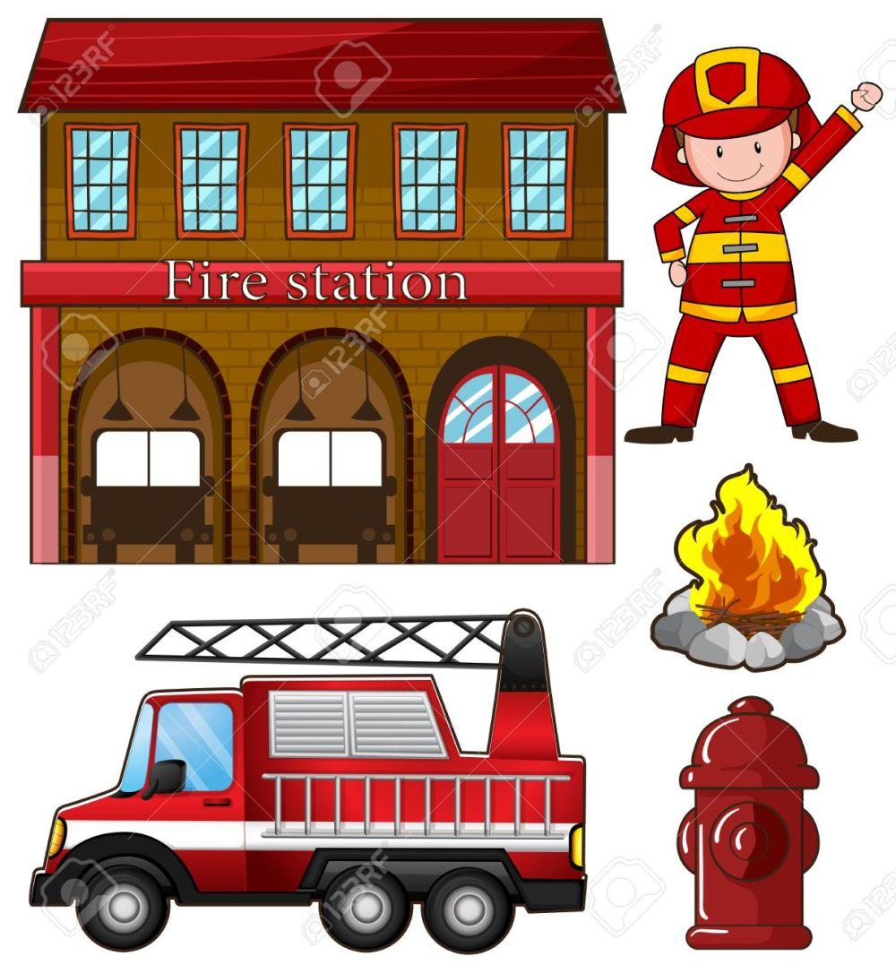 medium resolution of fireman and fire station illustration stock vector 44656987