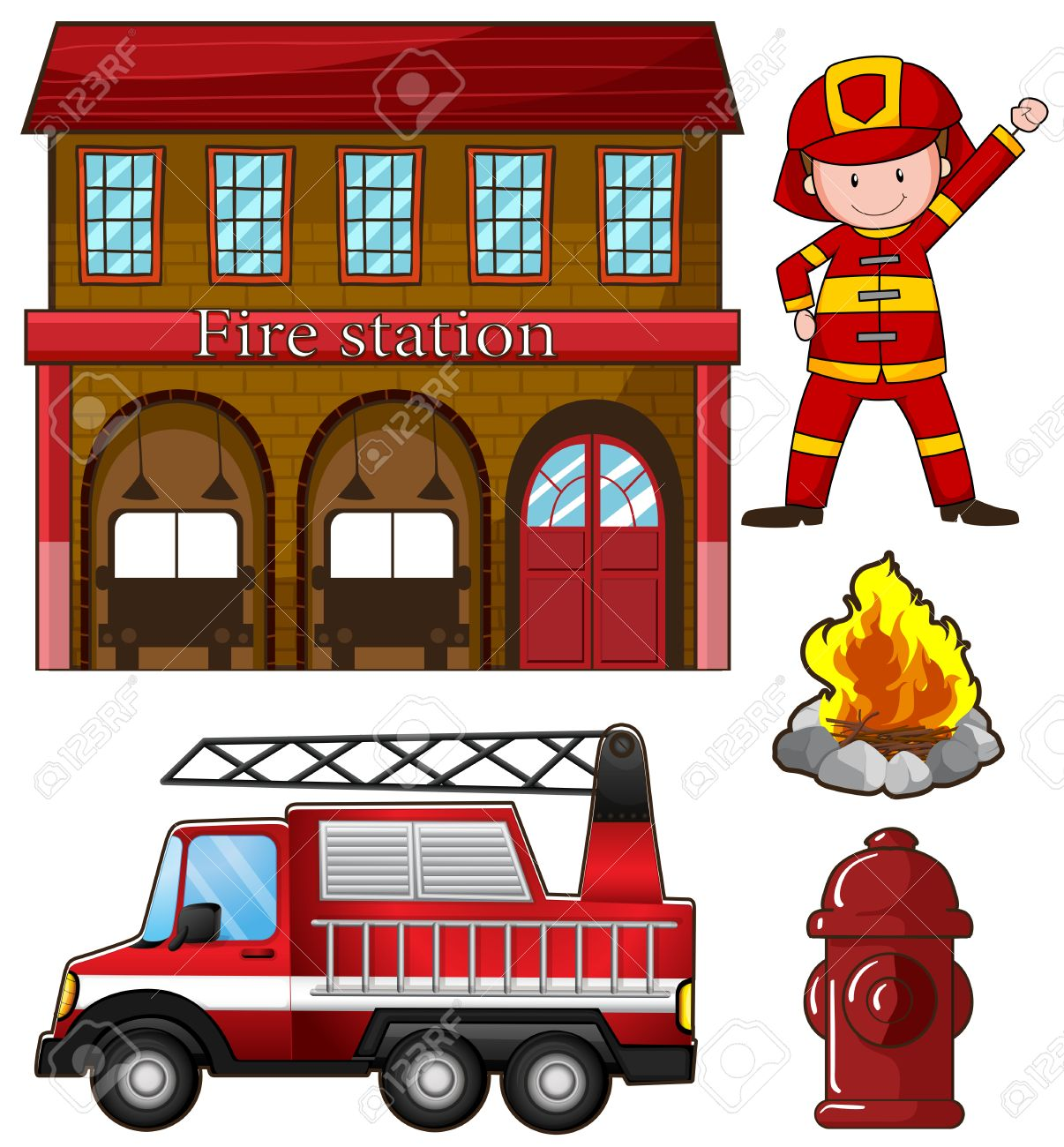 hight resolution of fireman and fire station illustration stock vector 44656987