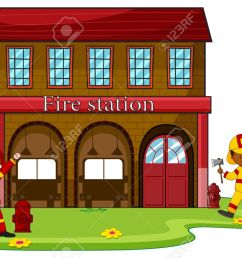 firemen working at the fire station illustration stock vector 44845157 [ 1300 x 854 Pixel ]