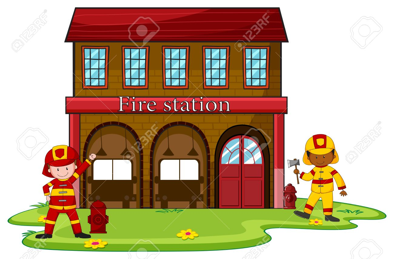 hight resolution of firemen working at the fire station illustration stock vector 44845157