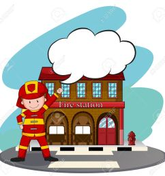 firemen working at the fire station illustration stock vector 45534997 [ 1300 x 1273 Pixel ]