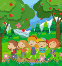 children walking in the forest illustration stock vector 50684544 [ 1300 x 1300 Pixel ]