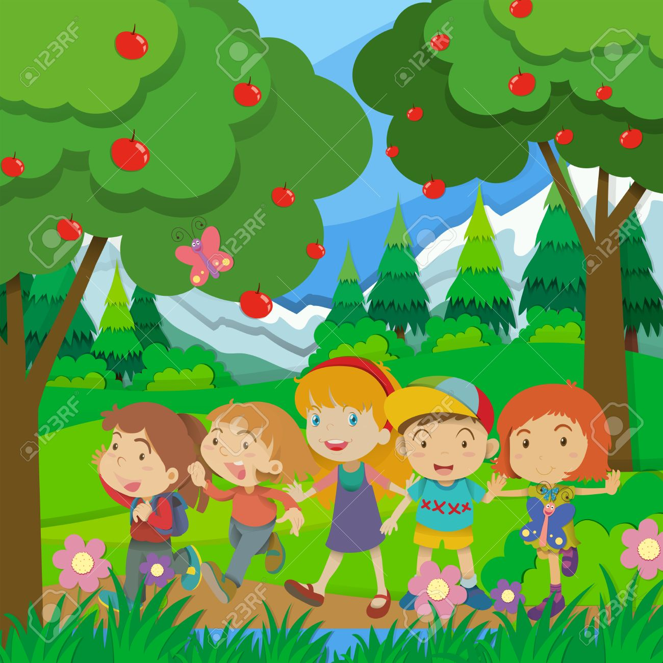 hight resolution of children walking in the forest illustration stock vector 50684544