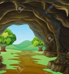 nature scene of cave and trail illustration stock vector 51244426 [ 1300 x 905 Pixel ]