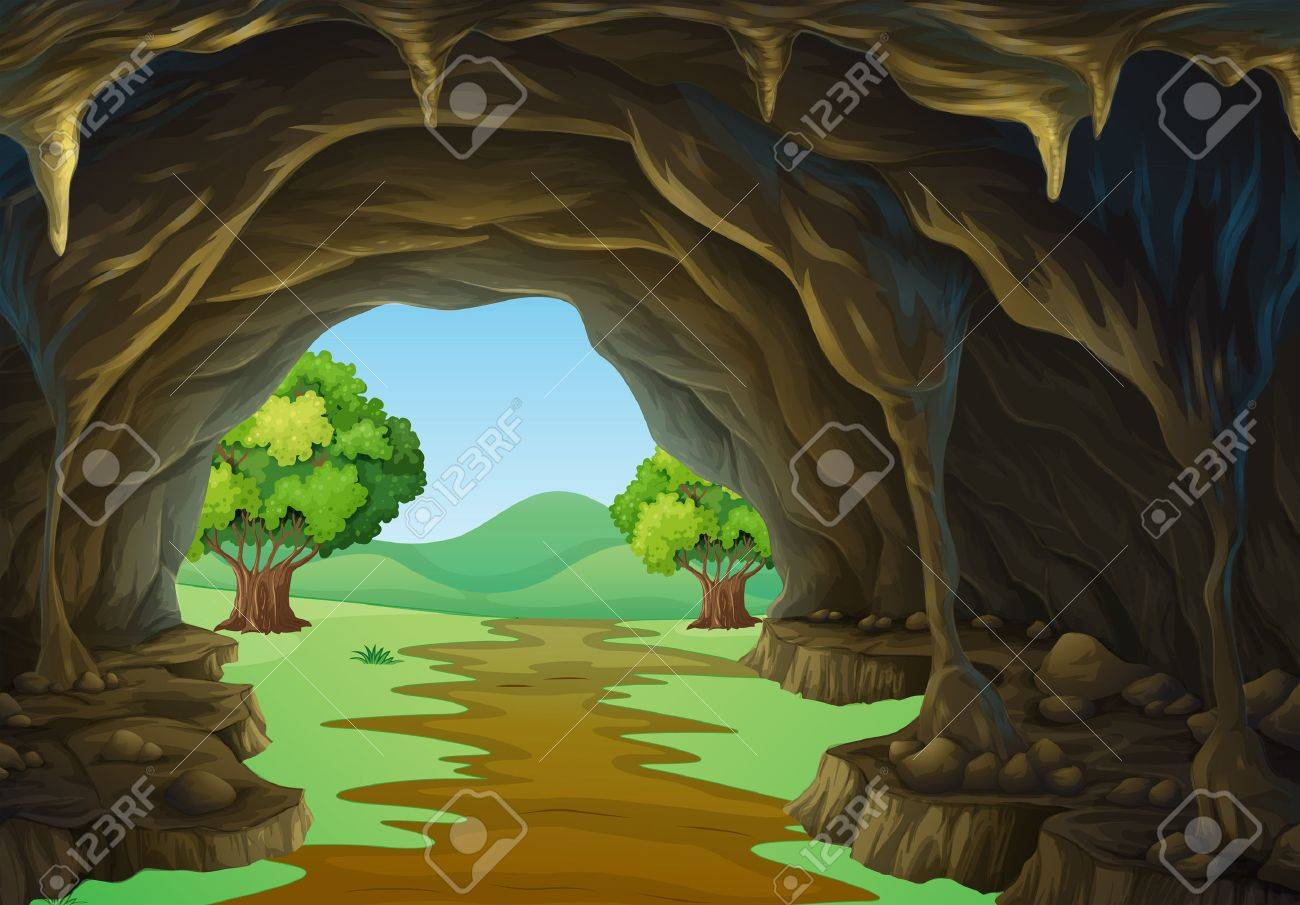 hight resolution of nature scene of cave and trail illustration stock vector 51244426