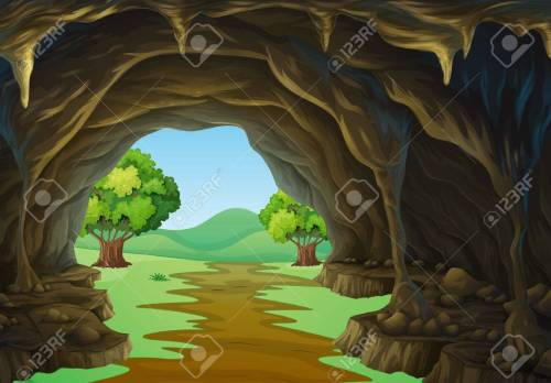 small resolution of nature scene of cave and trail illustration stock vector 51244426