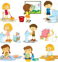 children doing different chores illustration stock vector 52044791 [ 1300 x 1294 Pixel ]