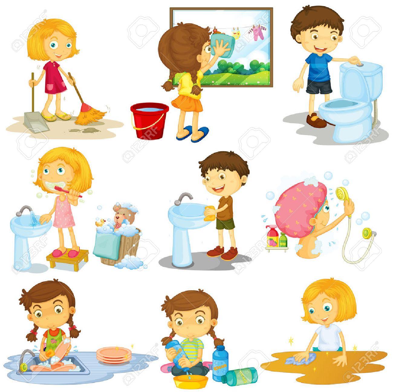 hight resolution of children doing different chores illustration stock vector 52044791
