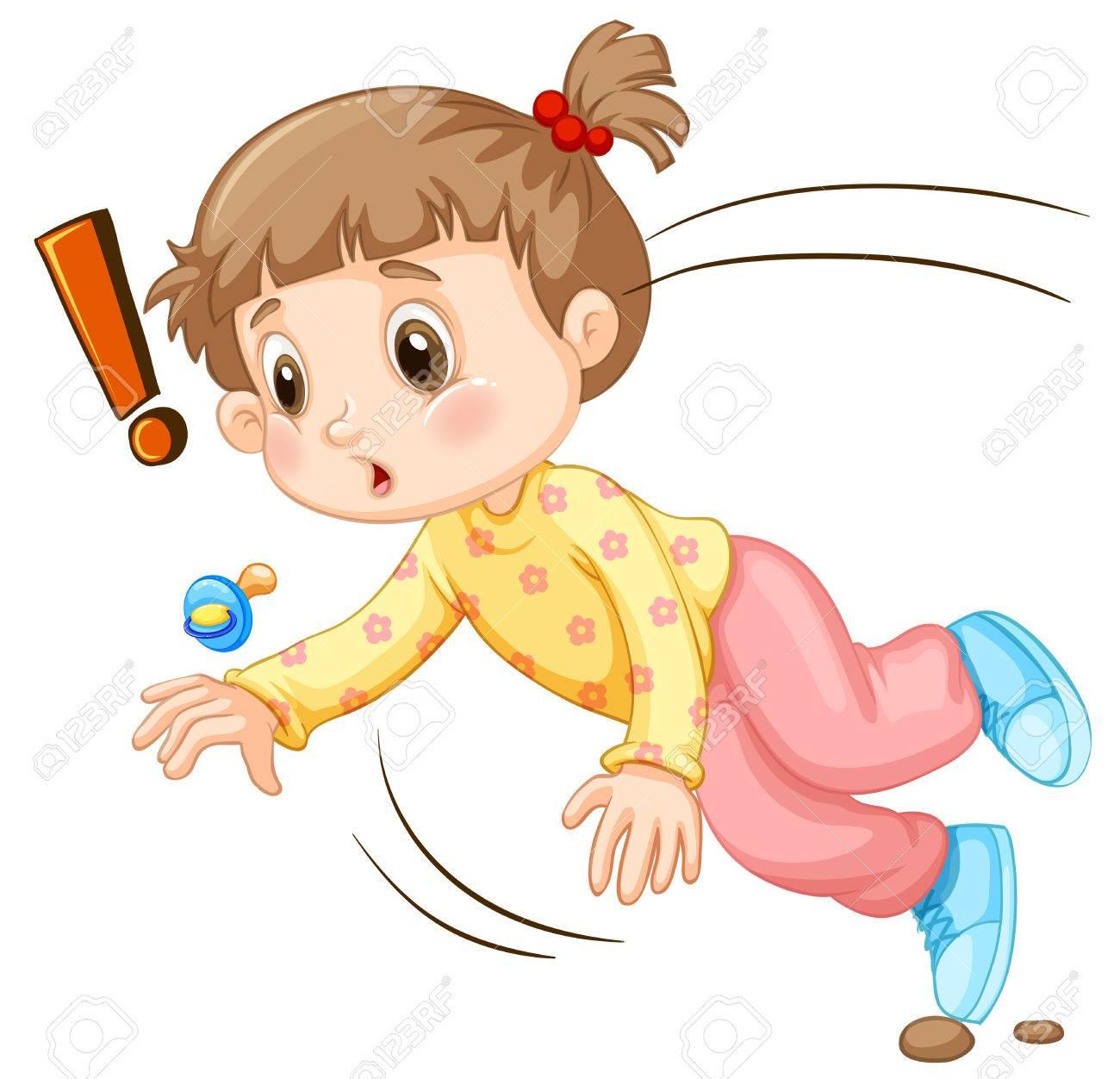 hight resolution of little girl falling down illustration stock vector 53963340
