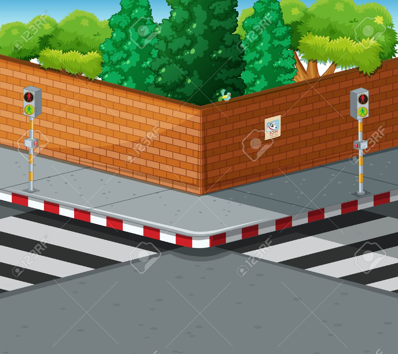 hight resolution of street corner with two zebra crossings illustration stock vector 53963601