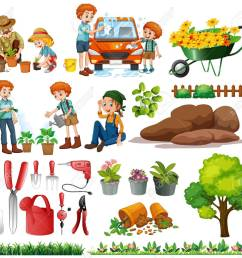 family members doing chores and gardening illustration stock vector 56549091 [ 1300 x 1187 Pixel ]