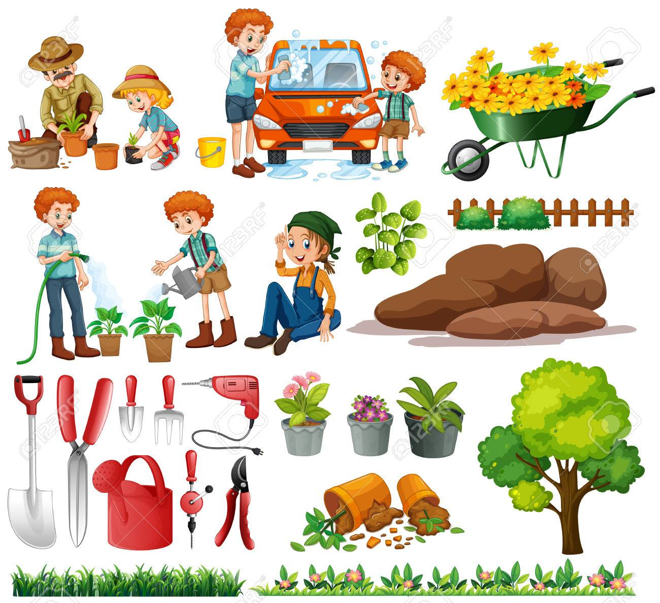 hight resolution of family members doing chores and gardening illustration stock vector 56549091
