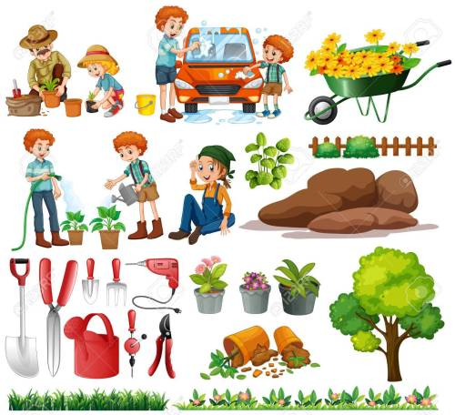 small resolution of family members doing chores and gardening illustration stock vector 56549091