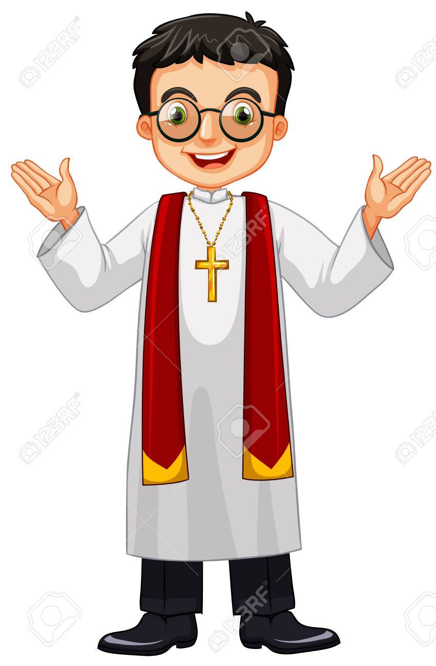 hight resolution of priest wearing glasses and cross illustration stock vector 56549152