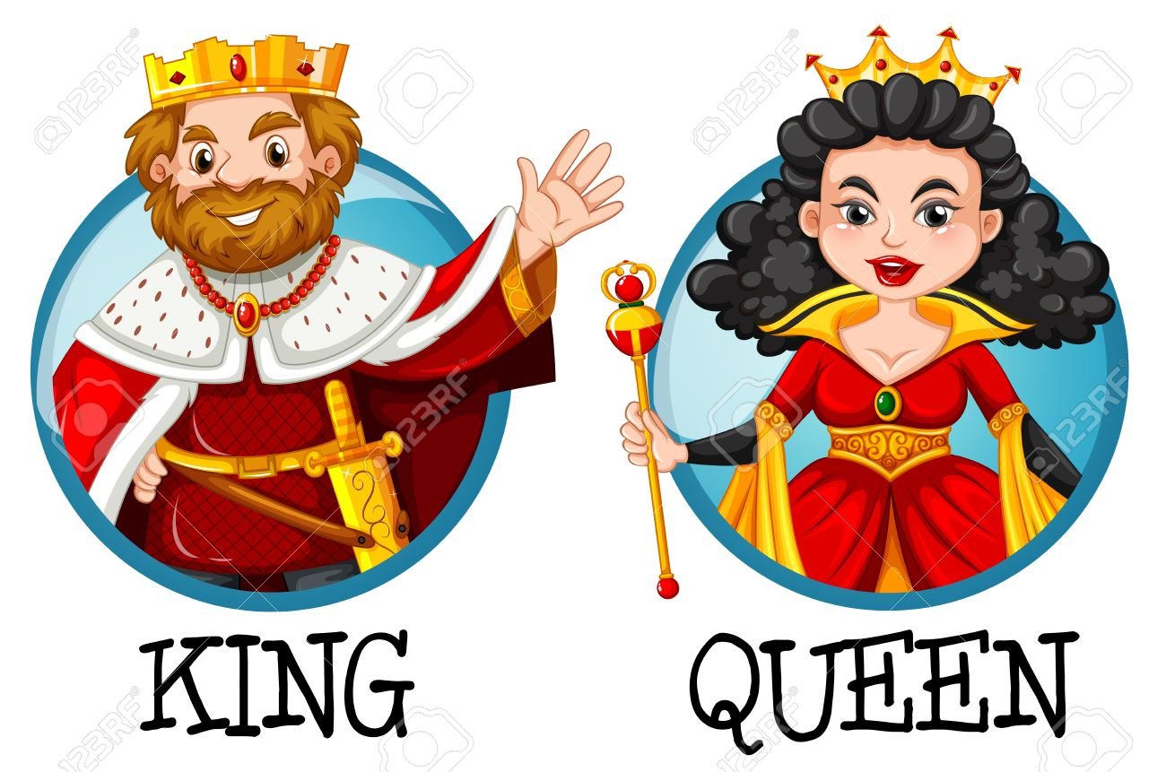 hight resolution of king and queen on round badges illustration stock vector 63871631