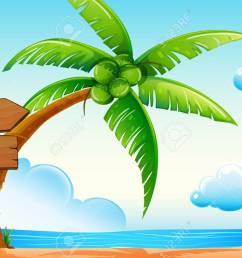 scene with ocean and coconut tree illustration stock vector 64619656 [ 1300 x 895 Pixel ]