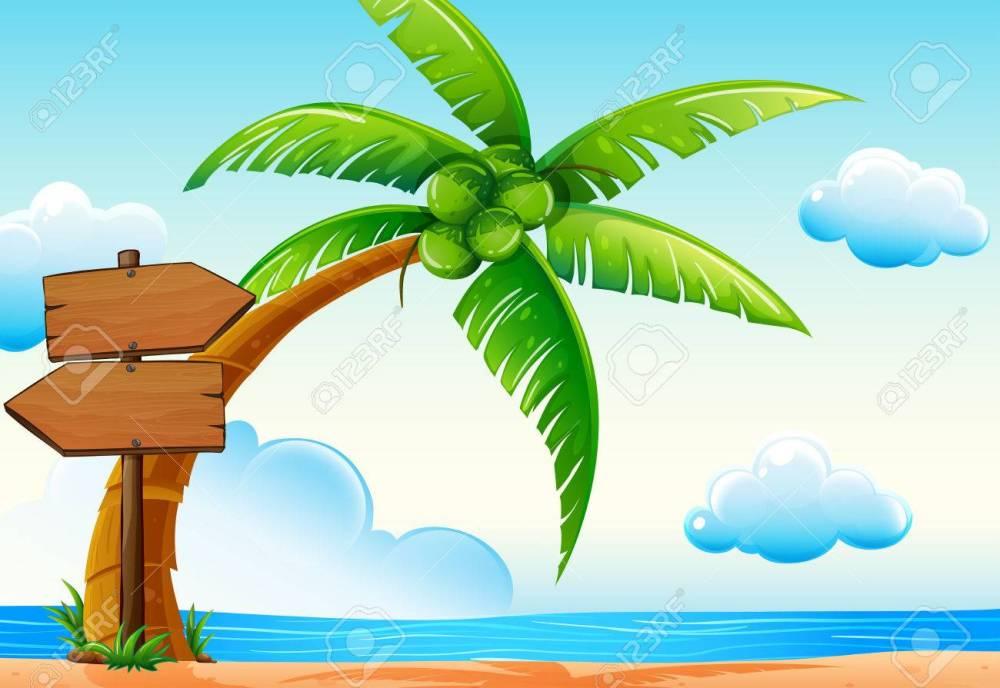 medium resolution of scene with ocean and coconut tree illustration stock vector 64619656