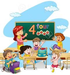 teacher teaching students in classroom illustration stock vector 64619713 [ 1300 x 1018 Pixel ]