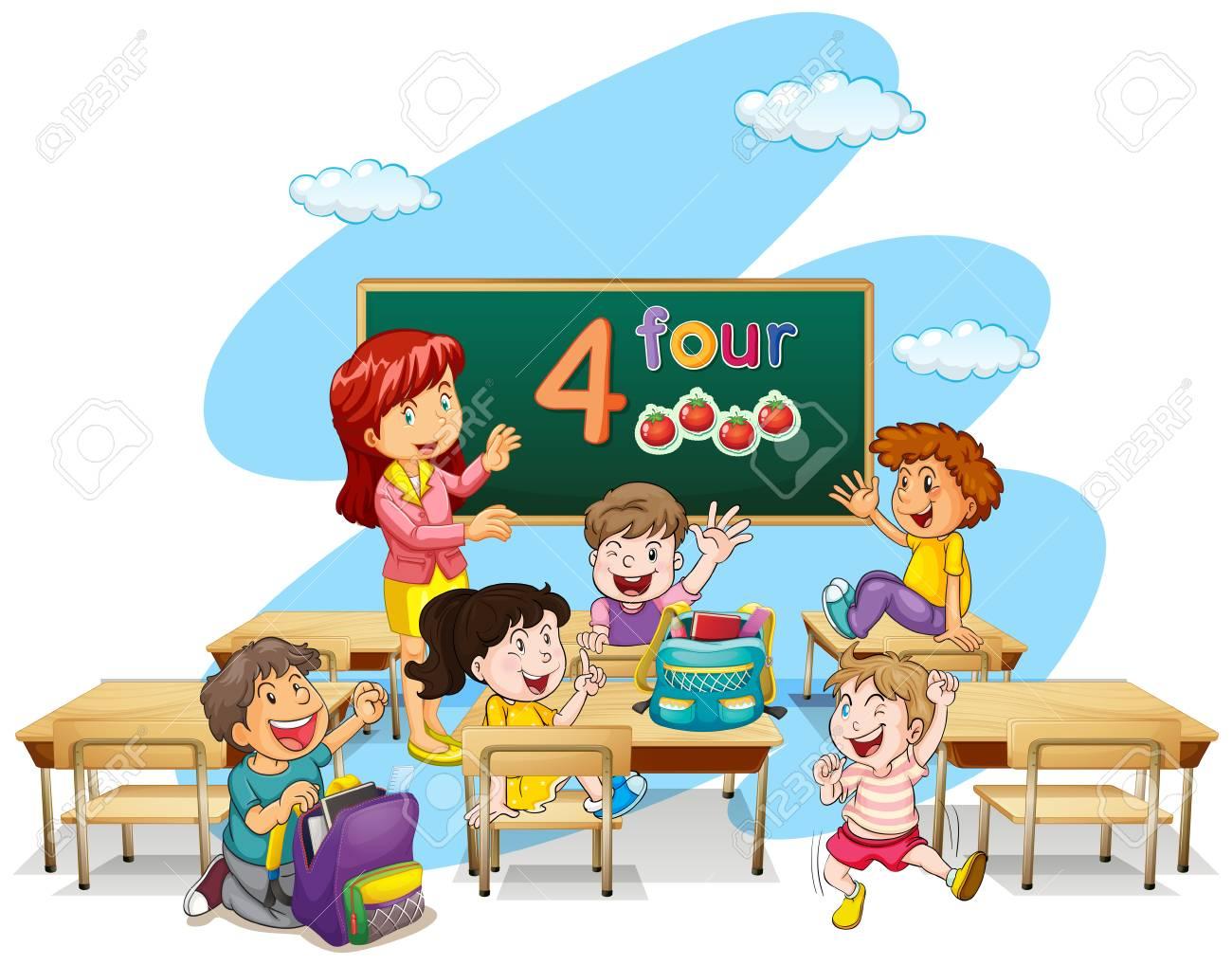 hight resolution of teacher teaching students in classroom illustration stock vector 64619713