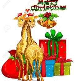 christmas card template with giraffes and presents illustration stock vector 64620194 [ 1115 x 1300 Pixel ]