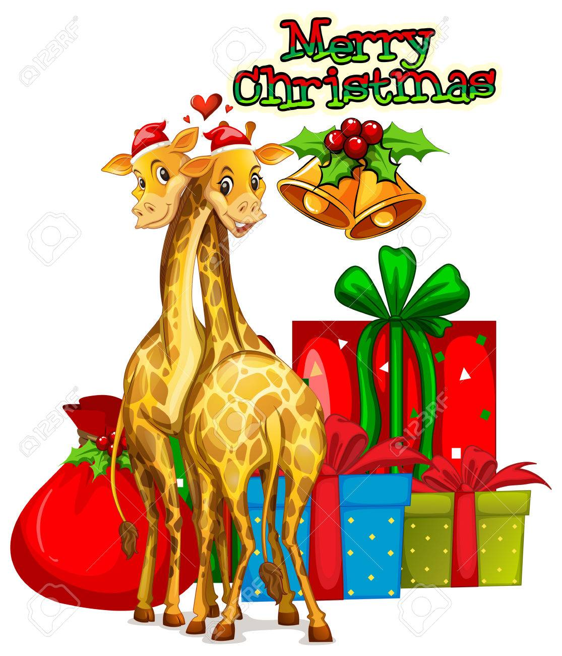 hight resolution of christmas card template with giraffes and presents illustration stock vector 64620194