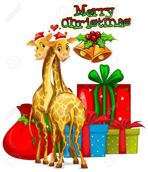small resolution of christmas card template with giraffes and presents illustration stock vector 64620194