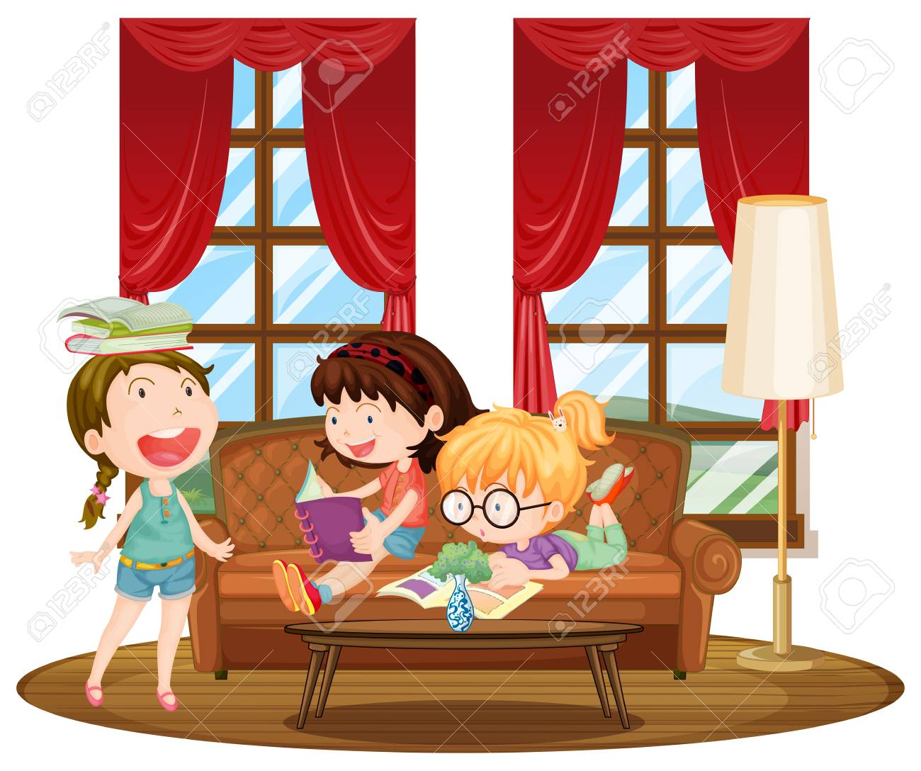 living room pictures clipart decorating ideas with brown sectional three girls reading books in illustration royalty free stock vector 65635285
