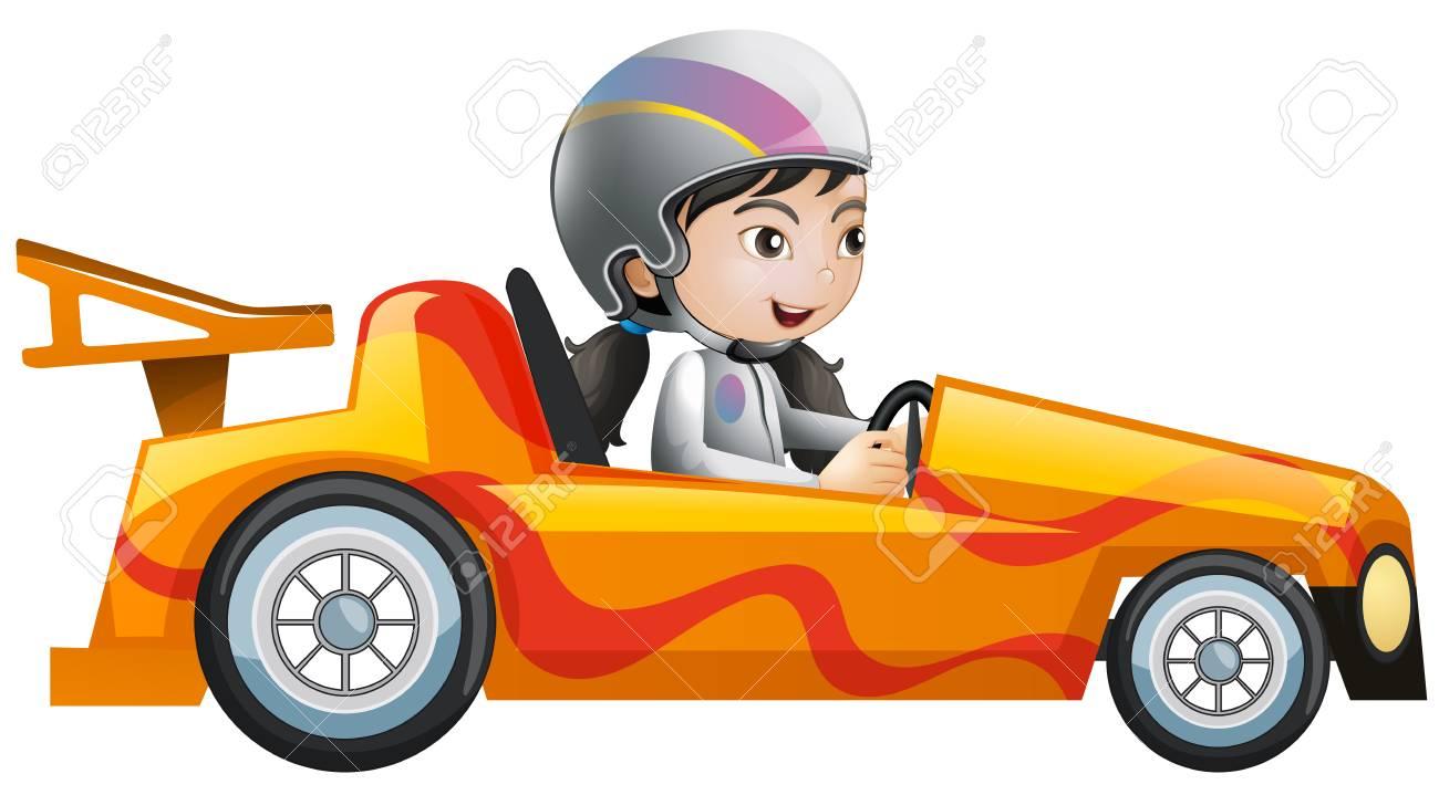 hight resolution of vector woman in orange racing car illustration