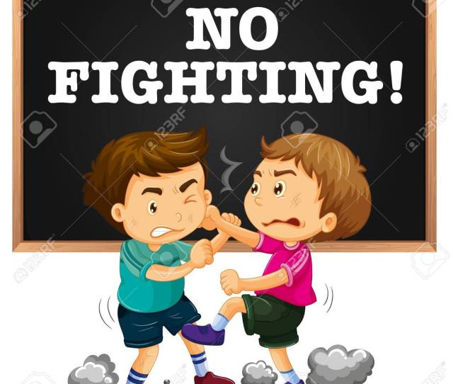 No Fighting Sign And Boy Fighting Illustration Stock Vector 69836029