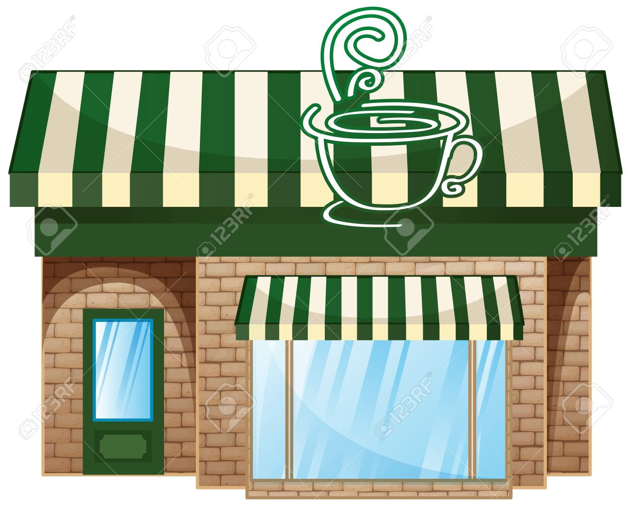 hight resolution of coffee shop with green roof illustration stock vector 74345593