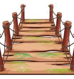 vector wooden bridge on white background illustration [ 1300 x 969 Pixel ]