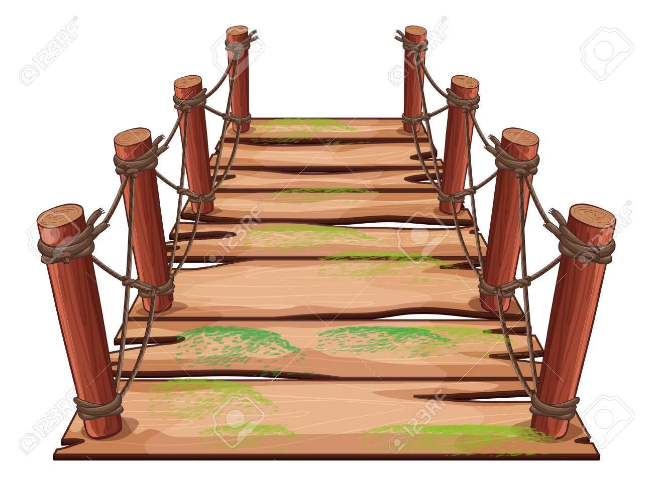 hight resolution of vector wooden bridge on white background illustration